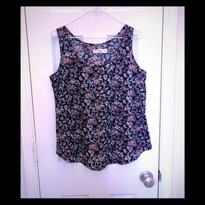 Faded Glory red blue floral tank size medium 8